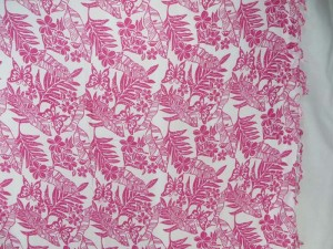pink leaf flower on white sarong
