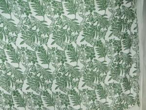 green leaf flower on white sarong