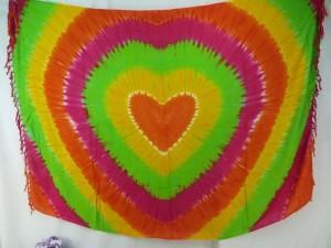 yellow green orange pink heart tie dye sarong
