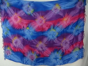 blue pink purple star burst tie dye sarong summer clothes for girls