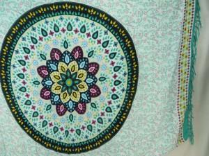 teal green on white mandala sarong with teal edge