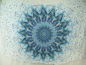 blue on white Inidan star thousand dots mandala sarong
