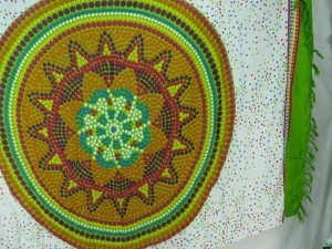 Indian star mandala sarong green earth on white with green edge