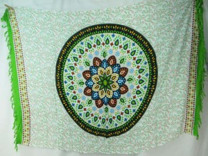 hippie bohemian wall art mandala sarong shawl green on white, green edge