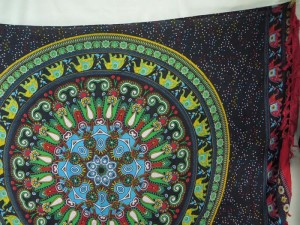 green elephant mandala black sarong red edge