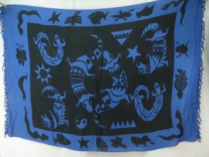 black blue tone gecko primitive sarong