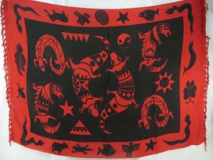 black red tone gecko primitive sarong