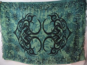 hippie fashion sarong green large tattoo tribe kanga pareo
