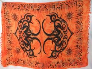 hippie fashion orange large tattoo tribe kanga pareo