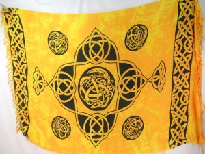 yellow sarong celtic intricate knotwork Celtic Pagan Hand-Crafted Altar Cloths