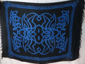 celtic interlace knotwork black blue spider web sarong wiccan home decor wall hanging
