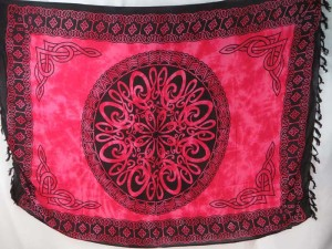 fuchsia mandala Celtic knotwork sarong table cover shawl wrap skirt