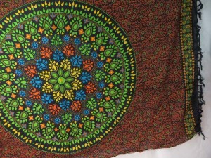 hippie sarong green mandala on black orange background