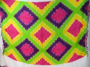 diamond tile tie dye sarong green yellow fuchsia purple