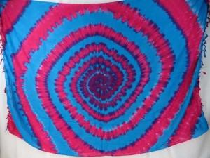 blue fuchsia swirl tiedye sarong