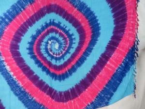 pink purple turquoise blue swirl tie dye sarong
