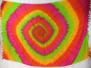 green yellow red pink swirl tie dye sarong wholesale hippie clothing supply