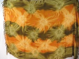 earth yellow star burst tie dye sarong