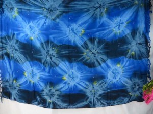 blue star burst tie dye sarong