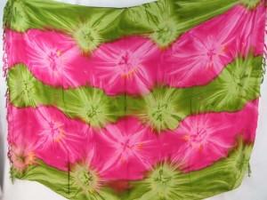 green pink star burst tie dye sarong