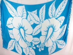 giant hibicus flower turquoise blue sarong