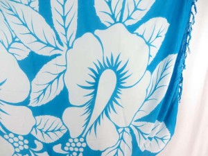 giant hibicus flower turquoise blue sarong
