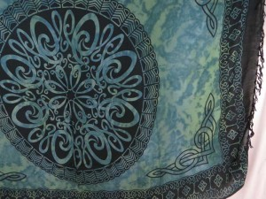 grey blue Celtic mandala sarong Altar Cloths Tarot Divination Goth