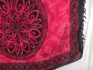 pareo beach beachwear fuchsia Celtic sarong mandala circle heppy punk clothing