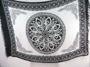 mandala celtic knot white black sarong