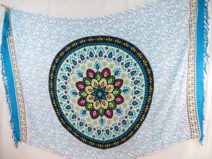 Indian star mandala bohemian retro sarong turquoise blue edge