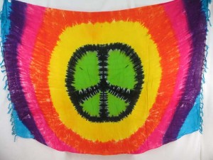 peace sign symbol tie dye sarong hippie boho gypsy retro urban assorted designs randomly picked by our warehouse staffs