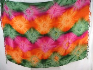 green orange pink star burst tie dye sarong