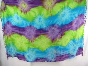 green purple turquoise star burst tie dye sarong