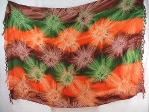 green orange brown star burst tie dye sarong
