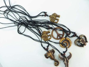 resin pendant hippie gothic necklaces with adjustable black cord