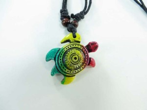 resin pendant rasta necklaces with adjustable black cord