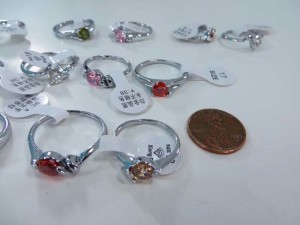 mix color cz crystal fashion rings, mixed sizes between 6 to 10