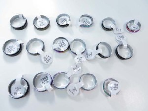 AB color stainless steel fashion rings, mixed sizes between 6 to 10