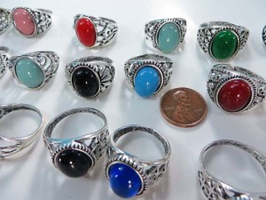 vintage style imiattion gemstone fashion rings, mixed sizes between 6 to 10
