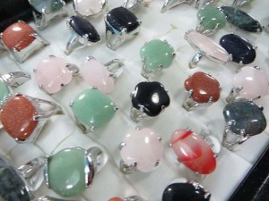 mixed colors genuine agate stone and gemstone rings