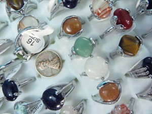 mixed colors genuine agate stone and gemstone rings size randomly picked between 6 to 10