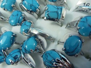 turquoise stone fashion ring mixed sizes between 6 to 10