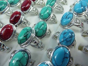 mixed colors turquoise stone fashion ring mixed sizes between 6 to 10