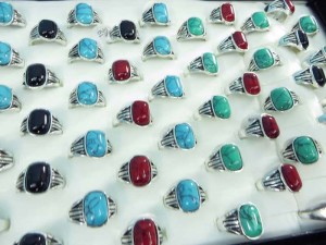 antique vintage style turquoise stone fashion ring mixed sizes between 6 to 10