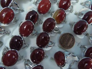 red agate stone fashion ring mixed sizes between 6 to 10