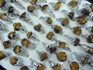 tiger eye natural stone fashion ring mixed sizes between 6 to 10