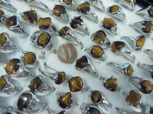 tiger eye natural stone fashion ring mixed sizes between 6 to 10