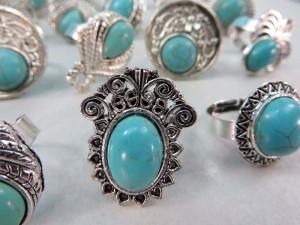 antique vintage style turquoise stone fashion ring open back adjustable size