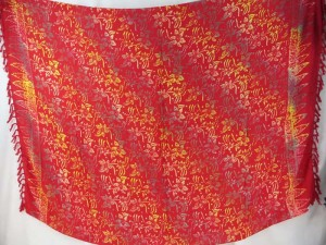 double process red gold hobo print sarong Hawaii vacation wrap clothes