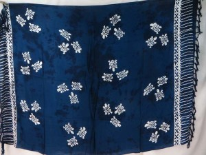 dark blue monocolor sarong with gecko, flower, turtel, fish, sun, dolphin, seashell, palm trees etc tropical designs assorted designs randomly picked by our warehouse staffs